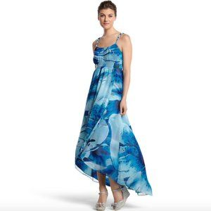 WHBM Blue Lily water color floral hi lo wrap Maxi
